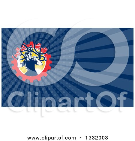 Clipart of a Retro Male Cyclist Carrying a Bicycle over a Gear and Sun Circle and Dark Blue Rays Background or Business Card Design - Royalty Free Illustration by patrimonio