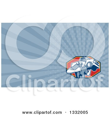 Clipart of a Retro Male Mechanic Holding a Wrench and Pickup Truck on His Shoulder and Blue Rays Background or Business Card Design - Royalty Free Illustration by patrimonio