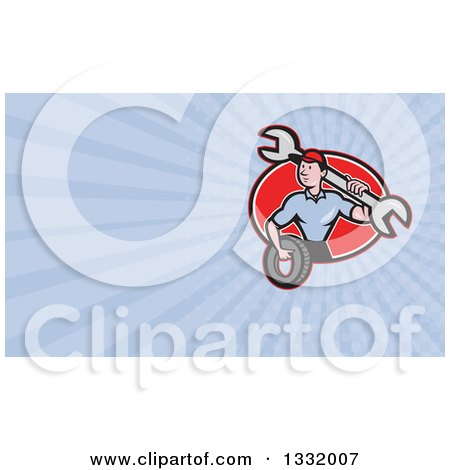 Clipart of a Cartoon Male Mechanic Worker Holding a Giant Wrench and a Tire in a Red Oval and Pastel Purple or Blue Rays Background or Business Card Design - Royalty Free Illustration by patrimonio
