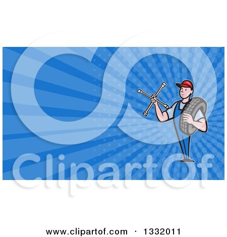 Clipart of a Retro Male Mechanic Holding a Socket Wrench and a Tire and Blue Rays Background or Business Card Design - Royalty Free Illustration by patrimonio