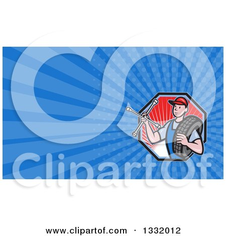 Clipart of a Retro Male Mechanic Holding a Socket Wrench and a Tire in a Red Ray Hexagon and Blue Rays Background or Business Card Design - Royalty Free Illustration by patrimonio