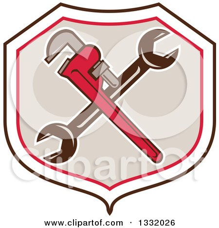 Clipart of Retro Crossed Spanner and Monkey Wrenches in a Black White Red and Tan Shield - Royalty Free Vector Illustration by patrimonio