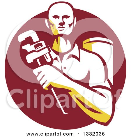 Clipart of a Retro Male Plumber Holding a Monkey Wrench in Front of a Tank in a Maroon Circle - Royalty Free Vector Illustration by patrimonio