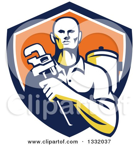 Clipart of a Retro Male Plumber Holding a Monkey Wrench in Front of a Tank in a Navy Blue, White and Orange Shield - Royalty Free Vector Illustration by patrimonio