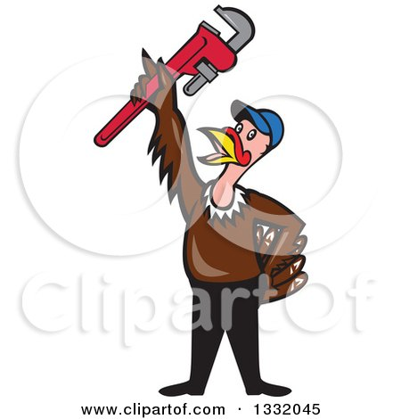 Clipart of a Cartoon Turkey Bird Plumber Worker Man Wearing a Baseball Cap and Holding up a Monkey Wrench - Royalty Free Vector Illustration by patrimonio
