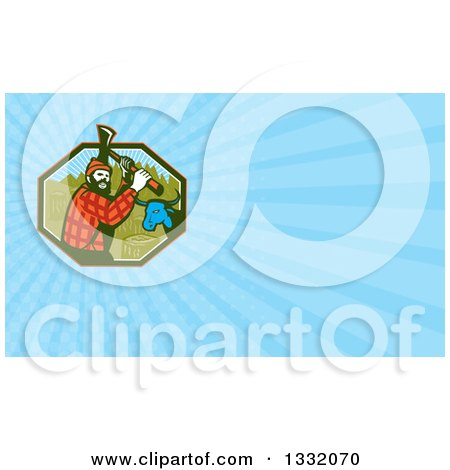 Clipart of a Retro Paul Bunyan Lumberjack and Babe Blue Ox and Blue Rays Background or Business Card Design - Royalty Free Illustration by patrimonio