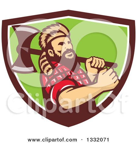 Clipart of a Retro Lumberjack in Plaid and a Raccoon Hat, Holding an Axe over His Shoulder in a Brown White and Green Shield - Royalty Free Vector Illustration by patrimonio
