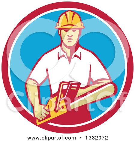 Clipart of a Retro White Male Tree Surgeon Arborist Holding a Chainsaw in a Red White and Blue Circle - Royalty Free Vector Illustration by patrimonio