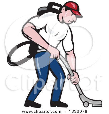 Clipart of a Cartoon White Male Janitor Worker Vacuuming and Looking down - Royalty Free Vector Illustration by patrimonio