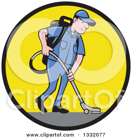 Clipart of a Cartoon White Male Janitor Worker Vacuuming and Looking down in a Black and Yellow Circle - Royalty Free Vector Illustration by patrimonio