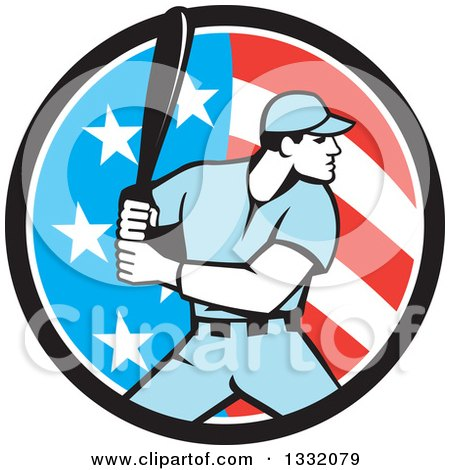 Clipart of a Retro Male Baseball Player Batting Inside an American Stars and Stripes Circle - Royalty Free Vector Illustration by patrimonio