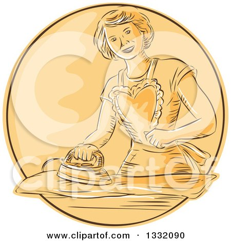 Clipart of a Retro Sketched or Engraved Happy Housewife Wearing an Apron and Ironing Laundry in an Orange Circle - Royalty Free Vector Illustration by patrimonio