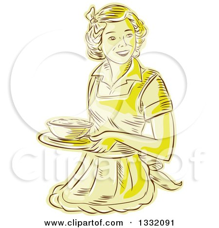 Clipart of a Retro Sketched or Engraved Yellow Housewife or Waitress Wearing an Apron and Serving a Bowl of Food - Royalty Free Vector Illustration by patrimonio