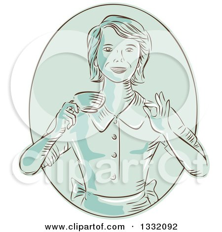 Clipart of a Retro Sketched or Engraved Green Happy Housewife or Waitress Gesturing Perfect and Holding a Cup of Coffee in an Oval - Royalty Free Vector Illustration by patrimonio