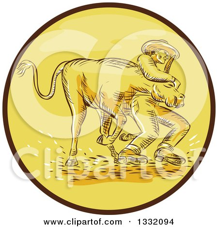 Clipart of a Retro Sketched or Engraved Cowboy Wrestling a Bull in a Brown and Yellow Circle - Royalty Free Vector Illustration by patrimonio