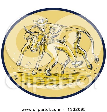 Clipart of a Retro Sketched or Engraved Cowboy Wrestling a Bull in a Brown and Tan Oval - Royalty Free Vector Illustration by patrimonio