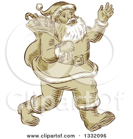 Clipart of a Retro Sketched or Engraved Christmas Santa Walking and Waving - Royalty Free Vector Illustration by patrimonio
