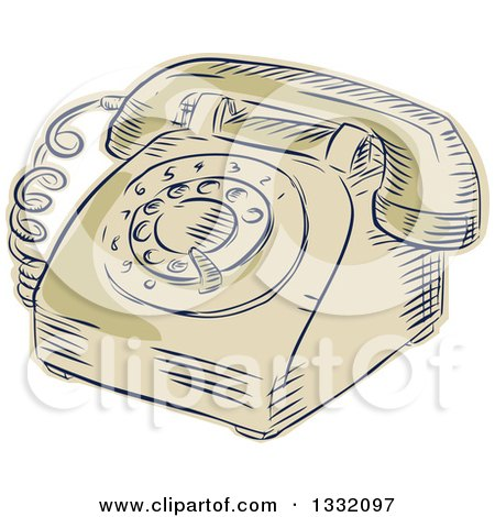 Clipart of a Retro Sketched or Engraved Vintage Table Top Rotary Telephone - Royalty Free Vector Illustration by patrimonio