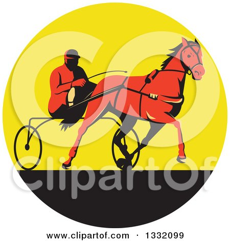Clipart of a Retro Red Man Horse Harness Racing in a Yellow and Black Circle - Royalty Free Vector Illustration by patrimonio
