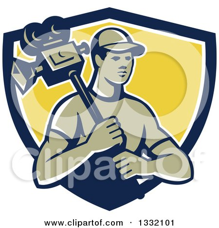 Clipart of a Retro Male Cameraman in a Navy Blue, White and Yellow Shield - Royalty Free Vector Illustration by patrimonio