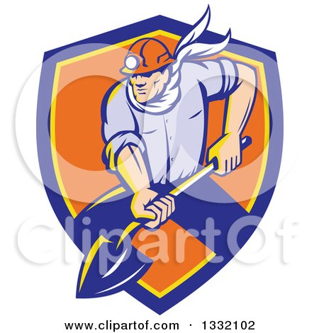 Clipart of a Retro White Male Coal Miner Digging with a Spade Shovel, with Light Shining from His Helmet, in a Blue Yellow and Orange Shield - Royalty Free Vector Illustration by patrimonio