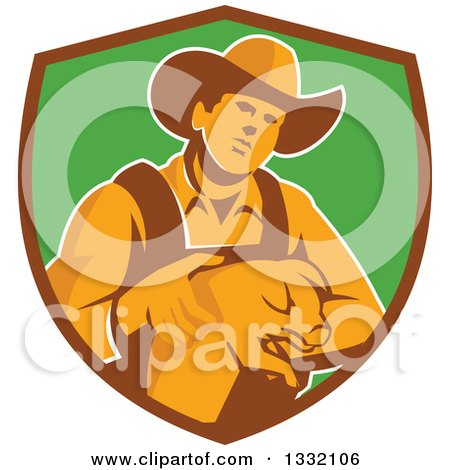 Clipart of a Retro Male Farmer Holding a Piglet in a Brown and Green Shield - Royalty Free Vector Illustration by patrimonio