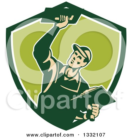 Clipart of a Retro Male Plasterer Working with Trowels in a Green and White Shield - Royalty Free Vector Illustration by patrimonio