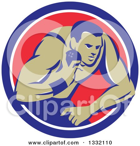 Clipart of a Retro Male Track and Field Shot Put Athlete Throwing in a Blue White and Red Circle - Royalty Free Vector Illustration by patrimonio