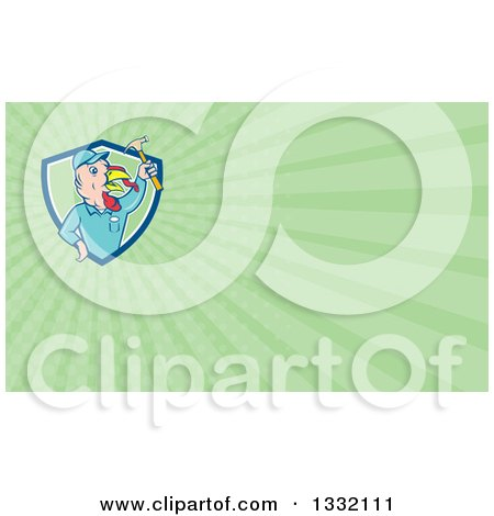 Clipart of a Retro Cartoon Turkey Bird Builder Worker Holding up a Hammer and Green Rays Background or Business Card Design - Royalty Free Illustration by patrimonio