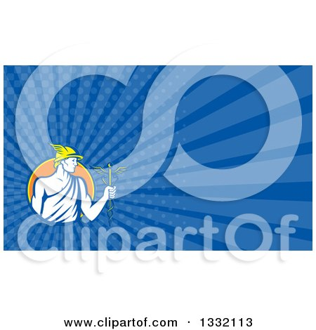 Clipart of a Retro Oman God Mercury with a Caduceus and Dark Blue Rays Background or Business Card Design - Royalty Free Illustration by patrimonio