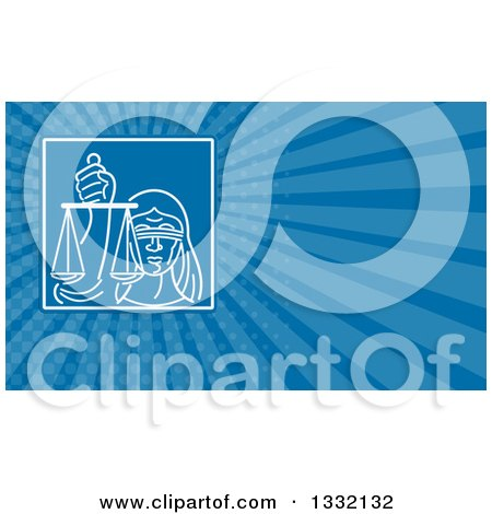 Clipart of a Blindfolded Lady Justice Holding Scales in a Square and Blue Rays Background or Business Card Design - Royalty Free Illustration by patrimonio