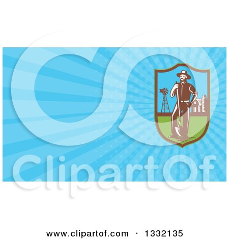 Clipart of a Retro Farmer with a Shovel Windmill and Barn in a Shield and Blue Rays Background or Business Card Design - Royalty Free Illustration by patrimonio
