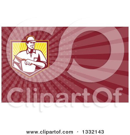Clipart of a Retro Male Mason Bricklayer with a Trowel and Maroon Rays Background or Business Card Design - Royalty Free Illustration by patrimonio