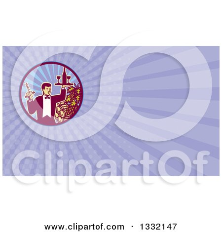 Clipart of a Retro Waiter Carrying Wine and a Corkscrew by Grapes and Barrels and Purple Rays Background or Business Card Design - Royalty Free Illustration by patrimonio