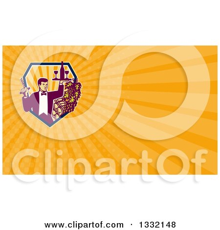 Clipart of a Retro Waiter Carrying Wine and a Corkscrew by Grapes and Barrels and Orange Rays Background or Business Card Design - Royalty Free Illustration by patrimonio
