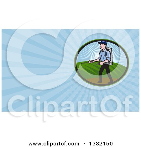 Clipart of a Retro Pest Exterminator Worker Spraying Chemicals and Blue Rays Background or Business Card Design - Royalty Free Illustration by patrimonio
