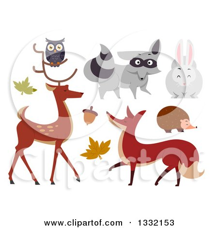 Clipart of Woodland Animals - Royalty Free Vector Illustration by BNP Design Studio
