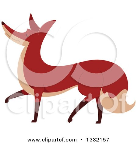 Clipart Of A Walking Fox Royalty Free Vector Illustration