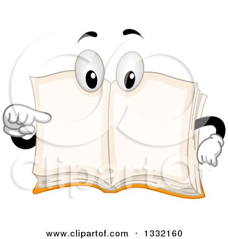Clipart of a Cartoon Book Character Pointing to Its Open, Blank Pages - Royalty Free Vector Illustration by BNP Design Studio