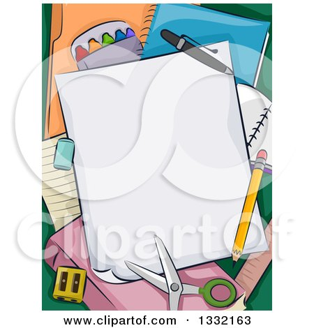 Clipart of School Supplies, Paper, Scissors and a Pencil - Royalty Free Vector Illustration by BNP Design Studio