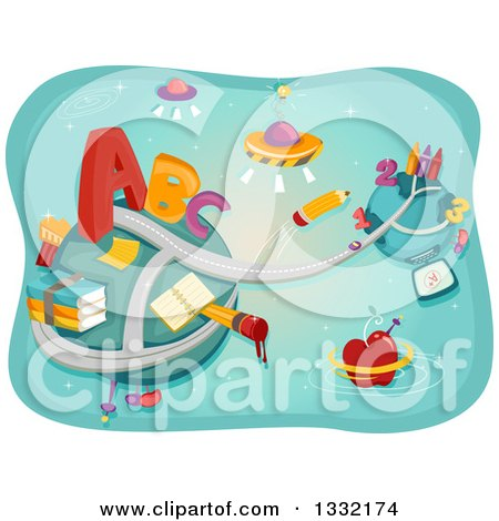 Clipart of a Road Conecting Two Planets with Abc Alphabet Letters, Ufos, Numbers and School Supplies - Royalty Free Vector Illustration by BNP Design Studio