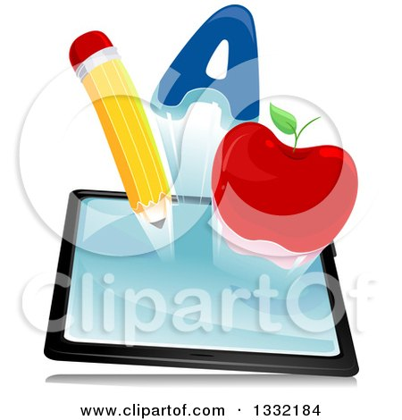 Clipart of a Letter A, Apple and Pencil Emerging from a Tablet Computer - Royalty Free Vector Illustration by BNP Design Studio
