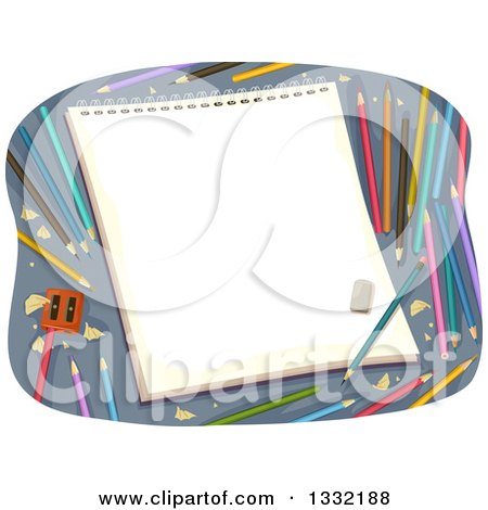 Clipart of a Sketch Pad with Colorful Pencils and a Sharpener - Royalty Free Vector Illustration by BNP Design Studio