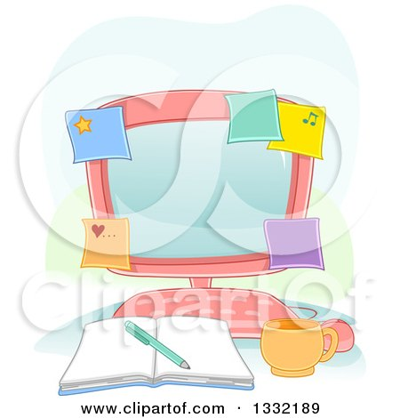 Clipart of a Pink Desktop Computer Covered with Sticky Notes, with an Open Book and Coffee Cup - Royalty Free Vector Illustration by BNP Design Studio