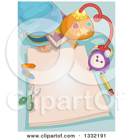 Clipart of a Backpack with Art Supplies and Blank Paper - Royalty Free Vector Illustration by BNP Design Studio