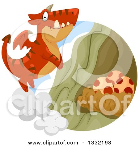 Clipart of a Red Dragon Flying to a Nest with Eggs - Royalty Free Vector Illustration by BNP Design Studio