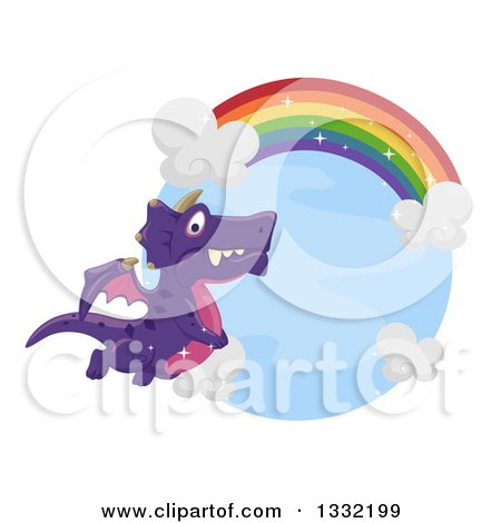 Clipart of a Purple Dragon Flying Under a Rainbow - Royalty Free Vector Illustration by BNP Design Studio