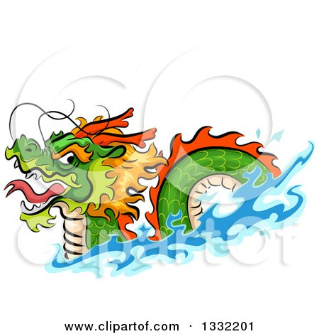 Clipart of a Swimming Chinese Dragon - Royalty Free Vector Illustration by BNP Design Studio