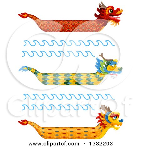 Clipart of Chinese Dragon Boats and Waves - Royalty Free Vector Illustration by BNP Design Studio