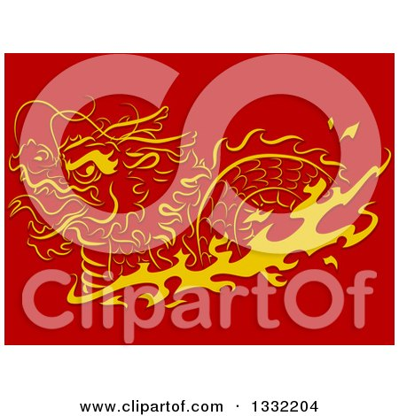 Clipart of a Golden Swimming Chinese Dragon with Flames on Red - Royalty Free Vector Illustration by BNP Design Studio